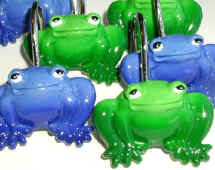 Blue U0026 Green Frog Shower Curtain Hooks