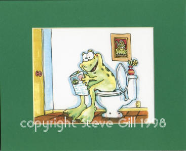 Potty Frog Matted Print
