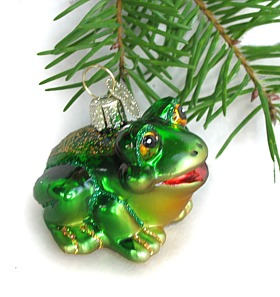 Frog Christmas ornaments, lights, and garlands