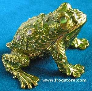 Ornate Enameled Frog Jewel Box