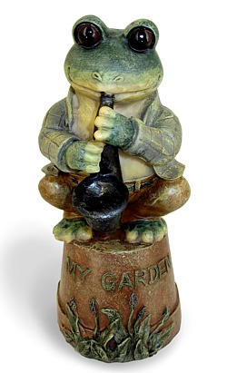 """My Garden"" Sax Frog on Pot"