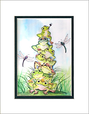 Completely new Frog art and posters, frog matted prints and wall decor NQ26
