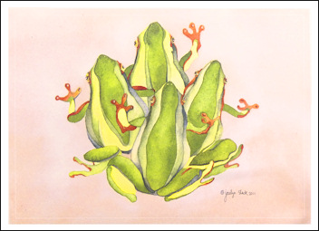 """Frog Quartet"" Boxed Holiday Cards (10)"