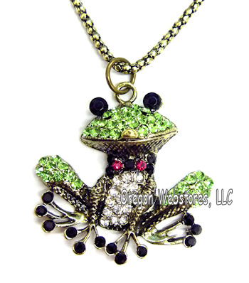 Frog jewelry, Austrian crystal sterling silver, pins frog earrings and necklaces