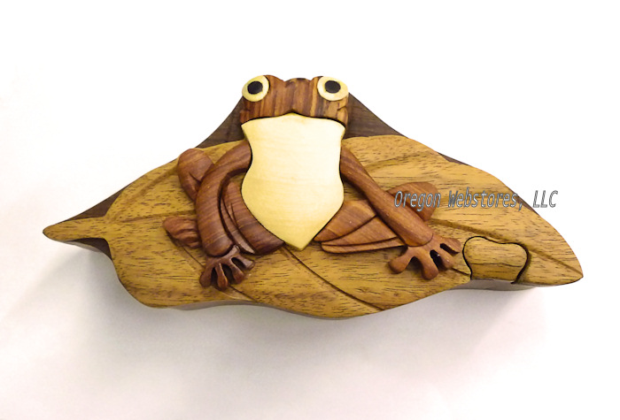 Wooden Frog on Lily Pad Puzzle Box