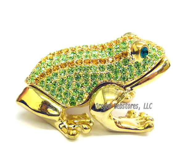 Striped Crystal Golden Frog Jewel Box