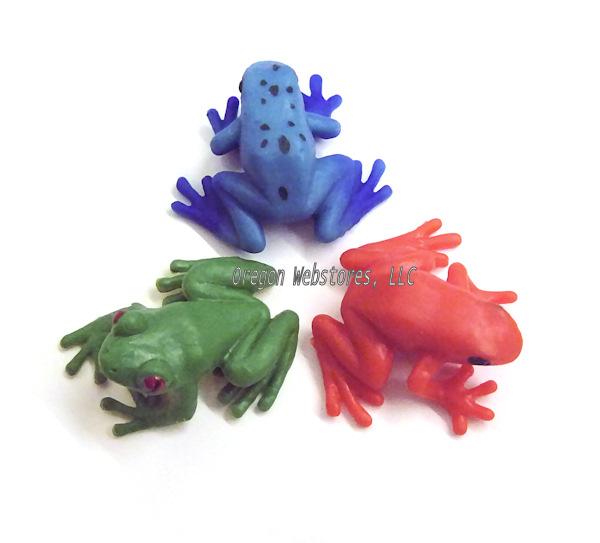 Doll House Shoppe Toy Poison Dart Frog Set//3 Blue Game Pcs Micro-mini Miniature