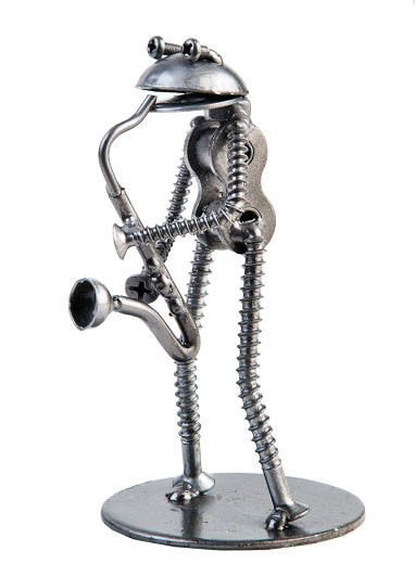 Nuts-N-Bolts Frog Saxophonist Sculpture