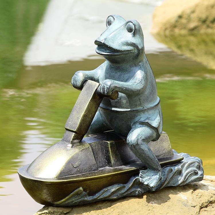 Jetski Frog Garden Sculpture