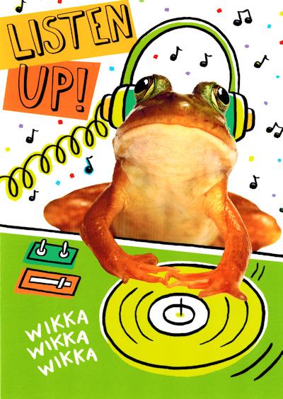 Froggy DJ Toadally Awesome Birthday Card