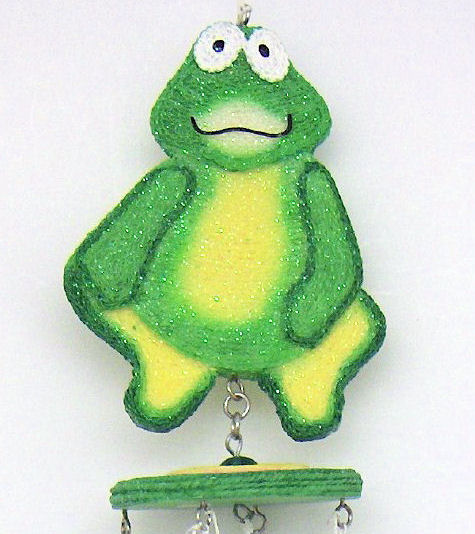 Whimsical Frog Beaded Windchime