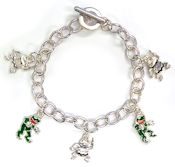Green & Silver Frogs Toggle Charm Bracelet
