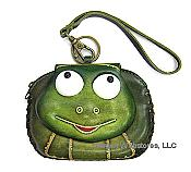 Leather Frog Head Wristlet Purse