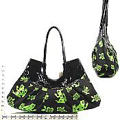 Black & Green Frog Canvas Purse