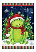 Christmas Frog Small Flag