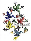 Five Frogs Metal Wall Art