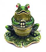 Thinking Frog on Lily Pad Jewel Box