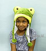 Happy Frog Head Plush Hat with Pom Poms