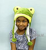 Happy Frog Head Plush Hat with Pom Poms