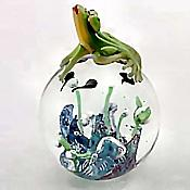 Glass Frog Paperweight with Tadpoles