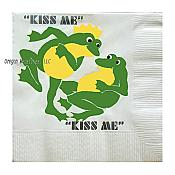 """Kiss Me"" Frog Cocktail Napkins (pk/30)"