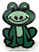 Whimsical Big Green Frog Iron-On Patch