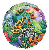 Frogs & Lizards Mylar Birthday Balloon