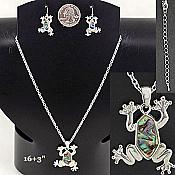 Silvery Abalone Frog Necklace & Earrings
