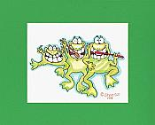 Brushing Frogs Matted Print