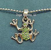 Green Crystal Frog Necklace