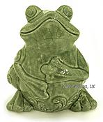 Large Crackled Glaze Sitting Frog Figurine