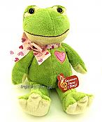 Green Ribbiting Plush Heart Frog
