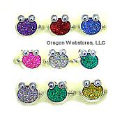 Glitter Frog Rings Assorted Colors (pk of 9)