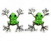 Green Enamel Frog Earrings with Crystal Toes