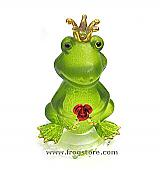 Green Glass Frog Prince with Rose