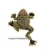 Antiqued Green Crystal Frog Pin