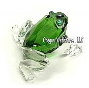 Green & Clear Glass Frog Figurine