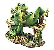 Frog Couple on Bench Figurine