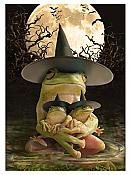 Frog Witch Halloween Card