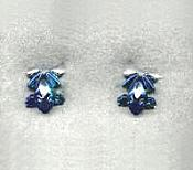 Blue Anodized Frog Stud Earrings