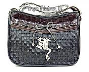 Frog Medallion Croc Look Purse