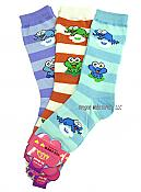 Three Pairs Stripey Frog Socks: Blues & Red