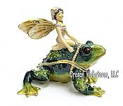 Fairy on Frog Enameled Jewel Trinket Box