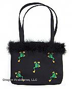 Climbing Frog Embroidered Purse with Feathers