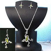 Olivine Stone Frog Necklace and Earring Set