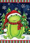 Christmas Frog Large Flag