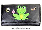 Frog with Flower Black Wallet