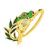 Green & Gold Frog on Branch Pin