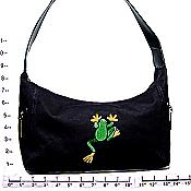Climbing Frog Embroidered Canvas Purse