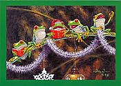 """Sing With Joy"" Frog Christmas Card (one card)"
